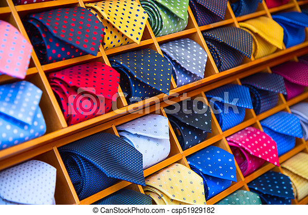 50b70b098370 Tie collection. Colorful tie collection in the men's shop.