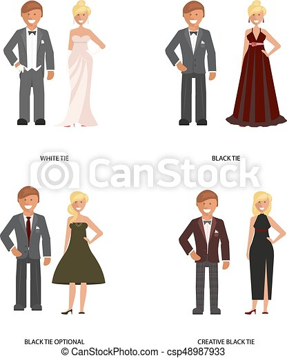 Black And White Tie Dress Code Man And Woman In Smart Casual Style