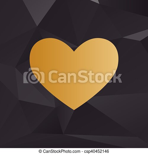 Tie sign. Golden style on background with polygons. - csp40452146