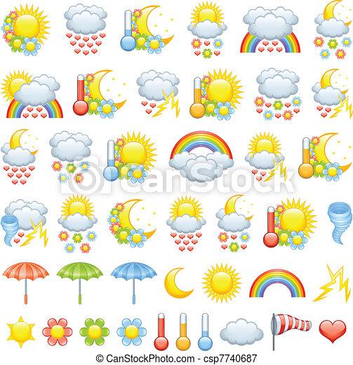 Adoro los iconos del clima - csp7740687