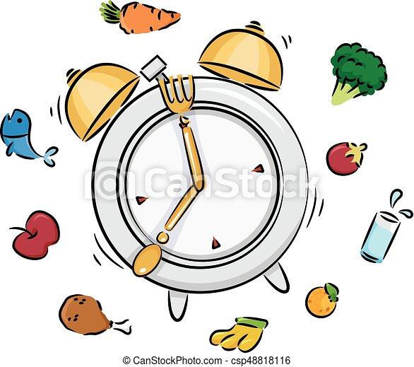 Ilustración de reloj de comida - csp48818116