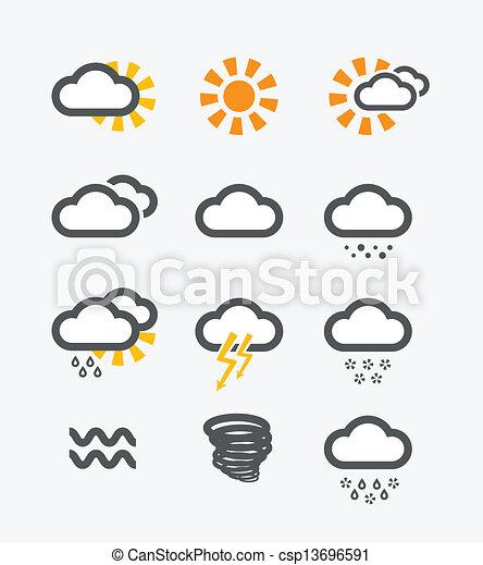 Los iconos meteorológicos pronosticados - csp13696591