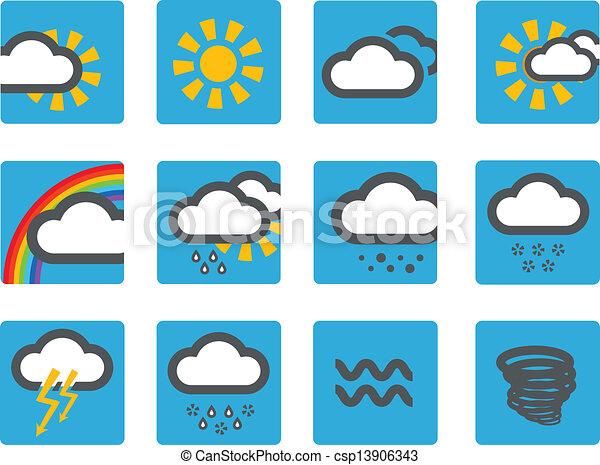 Los iconos meteorológicos pronosticados - csp13906343