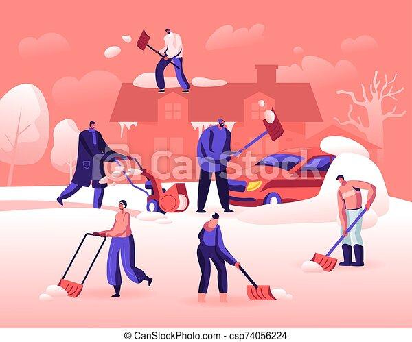 tiempo, plano, coche, invierno, utilizar, caricatura, snowfall., mover pala, snowblower, pala, vector, gente, calle., limpieza, nieve, feliz, después, ilustración, casa, actividad, techo, camino, caracteres, el quitar - csp74056224