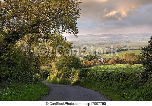 Hora de la noche, Inglaterra rural - csp17007790