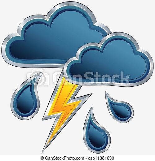 Un icono del tiempo del vector con una tormenta - csp11381630