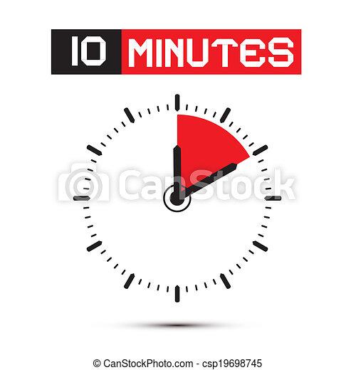 tien, klok, -, horloge, illustratie, stoppen, vector, notulen - csp19698745