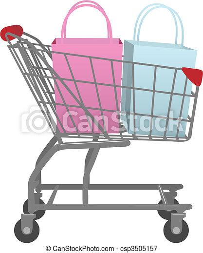 tienda, bolsas, compras, grande, carrito, ir, venta al por menor - csp3505157