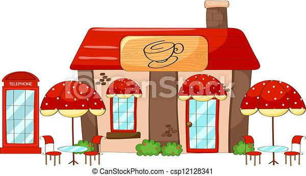 Tienda, café, fondo blanco, ilustración.
