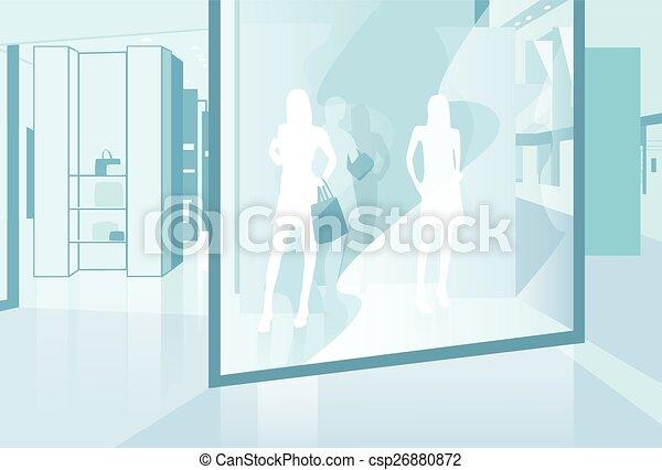 Comprando ventana moderna tienda de lujo en el centro comercial - csp26880872
