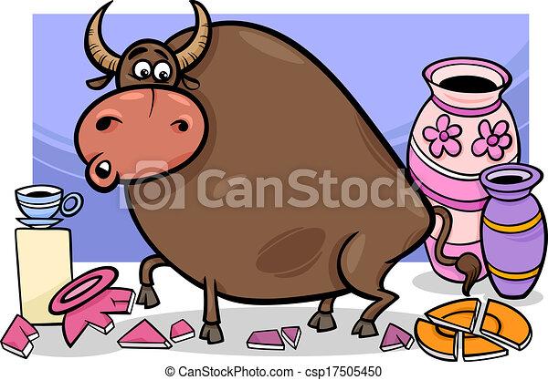 Bull en una caricatura de una tienda de porcelana - csp17505450