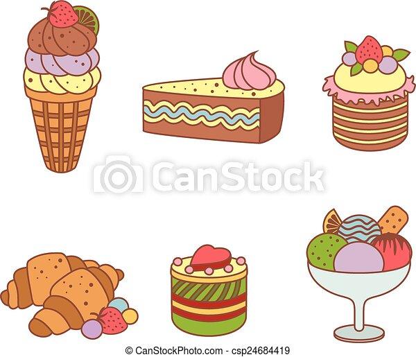 Un juego de pasteles y productos de harina de panadería o pastelería - csp24684419