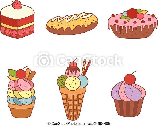 Un juego de pasteles y productos de harina de panadería o pastelería - csp24684405