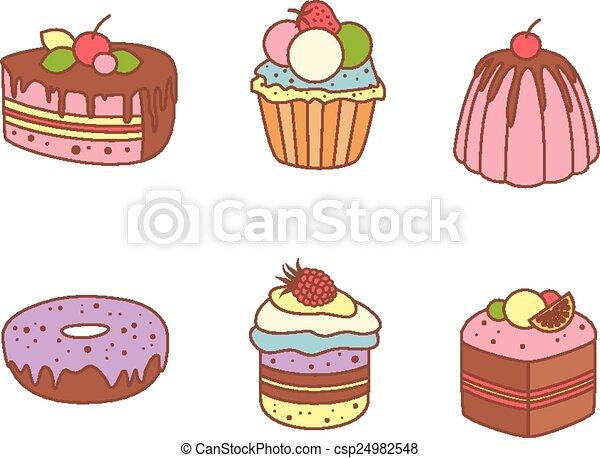 Un juego de pasteles y productos de harina de panadería o pastelería - csp24982548