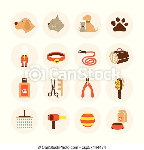 Los iconos de la tienda de mascotas - csp57444474