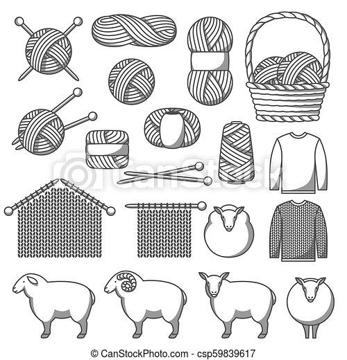 Un conjunto de artículos de lana. Bienes hechos a mano, tejido o sastrería - csp59839617