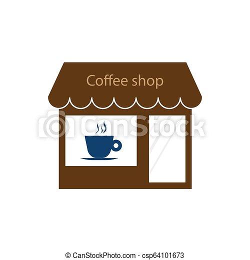 Comercio, cafetería, icono de la tienda. Ilustración de vectores. - csp64101673