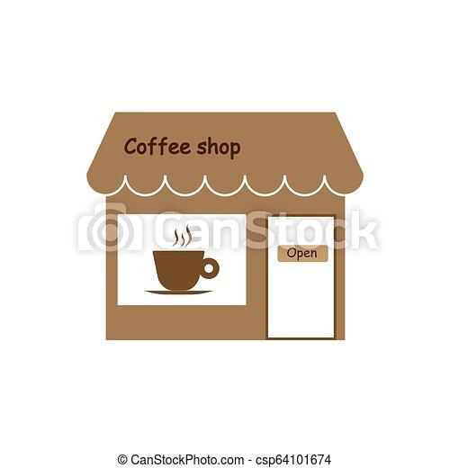 Comercio, cafetería, icono de la tienda. Ilustración de vectores. - csp64101674