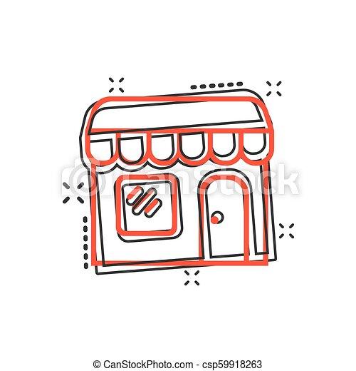 El icono del mercado de dibujos animados Vector en estilo cómico. Fotograma de ilustración del edificio de tiendas. Concepto de efecto de chapoteo comercial. - csp59918263