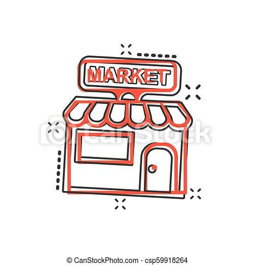 El icono del mercado de dibujos animados Vector en estilo cómico. Fotograma de ilustración del edificio de tiendas. Concepto de efecto de chapoteo comercial. - csp59918264