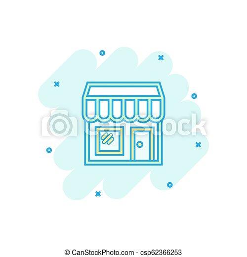 El icono del mercado de dibujos animados Vector en estilo cómico. Fotograma de ilustración del edificio de tiendas. Concepto de efecto de chapoteo comercial. - csp62366253