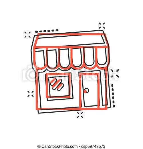 El icono del mercado de dibujos animados Vector en estilo cómico. Fotograma de ilustración del edificio de tiendas. Concepto de efecto de chapoteo comercial. - csp59747573
