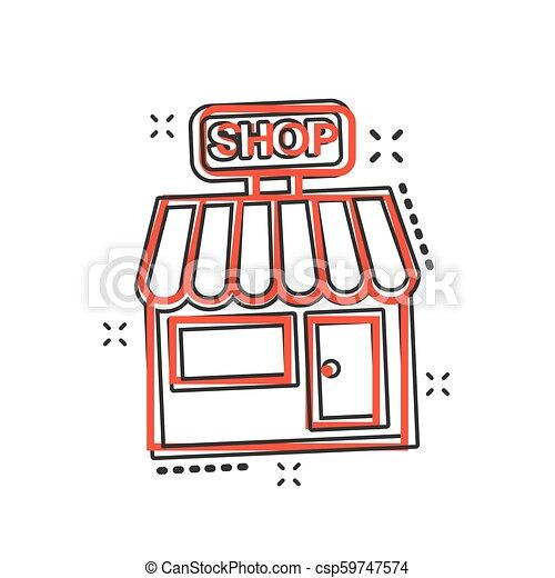 El icono del mercado de dibujos animados Vector en estilo cómico. Fotograma de ilustración del edificio de tiendas. Concepto de efecto de chapoteo comercial. - csp59747574