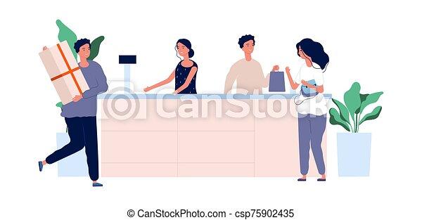 tienda, equipo, compradores, productos, macho, concept., servicio, counter., plano, cliente, hembra parada, caracteres, vector - csp75902435