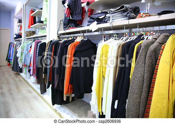 tienda, estante, ropa - csp2606936