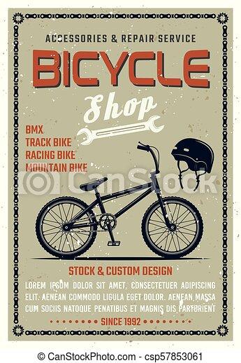 El póster del vector de la tienda de bicicletas al estilo retro - csp57853061