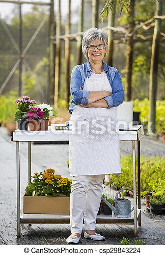 tienda, flor, trabajando - csp29843224