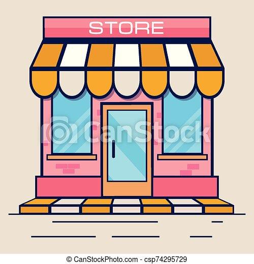 tienda, ilustración, plano, vector, design., rosa, icon., tienda - csp74295729