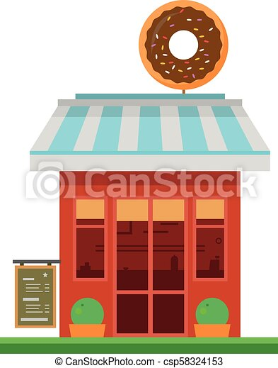 Linda ilustración de vectores de dibujos animados de una tienda de donuts - csp58324153