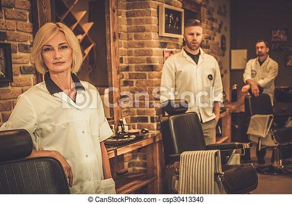 tienda, lugares, trabajando, trabajadores, su, peluquero - csp30413340
