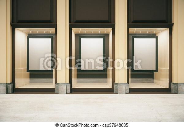 Tienda, marcos, exterior, blanco. Tienda, arriba, showcase ...