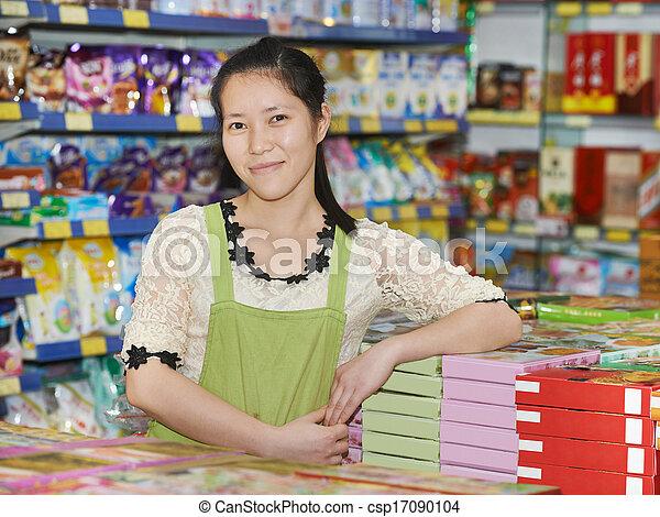 tienda, mujer, chino, vendedor - csp17090104