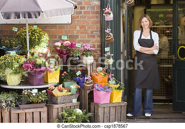 tienda, mujer, flor, sonriente, trabajando - csp1878567