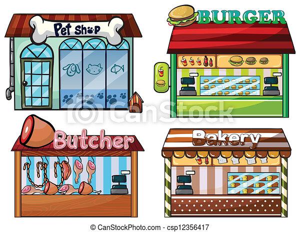 tienda, petshop, carnicero, hamburguesa, panadería, estante - csp12356417