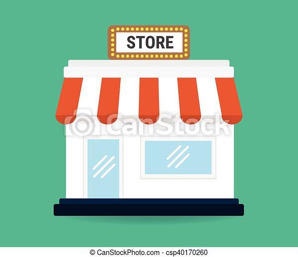 Ícono de la tienda. Compra icono. Diseño plano. Ilustración de vectores - csp40170260
