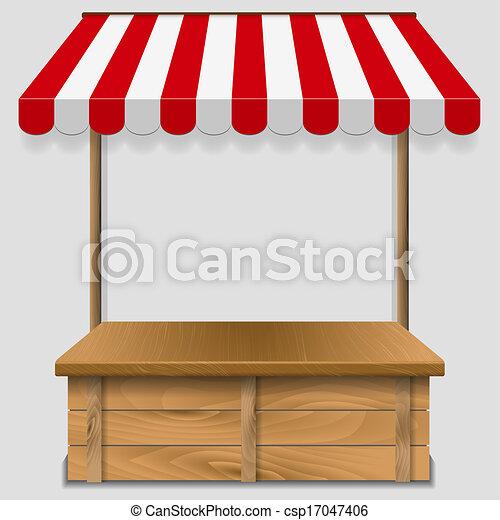 Ventana de tienda con toldos a rayas - csp17047406