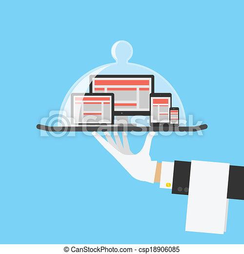 tienda, tela, computadora, servicio, concept., vector, diseño, sensible, o - csp18906085