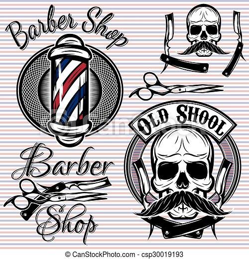 Un conjunto de emblemas en una barbería temática - csp30019193