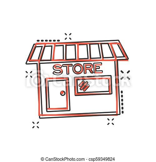 El icono de la tienda de dibujos animados Vector en estilo cómico. Fotograma de ilustración de la tienda. Economía comercial de tiendas. - csp59349824