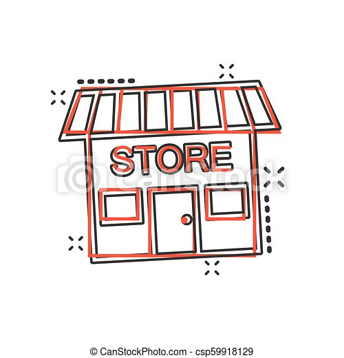 El icono de la tienda de dibujos animados Vector en estilo cómico. Fotograma de ilustración de la tienda. Economía comercial de tiendas. - csp59918129