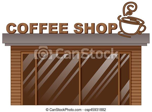 Cafetería con puerta de cristal - csp45931882