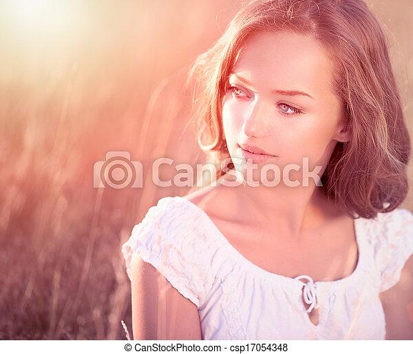 tiener, beauty, meisje, outdoors., model, romantische - csp17054348