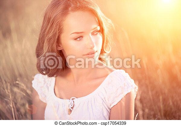tiener, beauty, meisje, outdoors., model, romantische - csp17054339