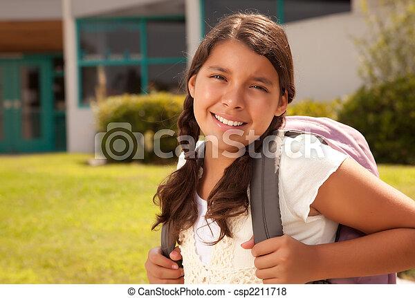 tiener, schattig, school, spaans, student, gereed, meisje - csp2211718