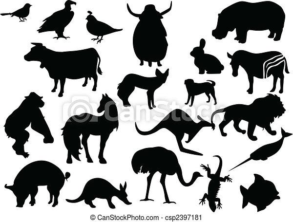 Tier- farbe, silhouettes., eins, vektor, schwarz, klicken,... Vektor ...