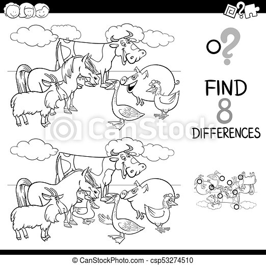 tiere, bauernhof, unterschiede, farbe, buch, aktivität - csp53274510